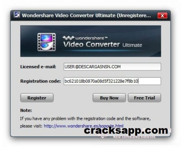 Wondershare Video Converter Ultimate Registration Code + Email Free