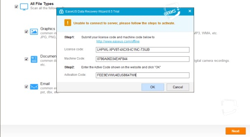 EaseUs Data Recovery 10.8 License Code
